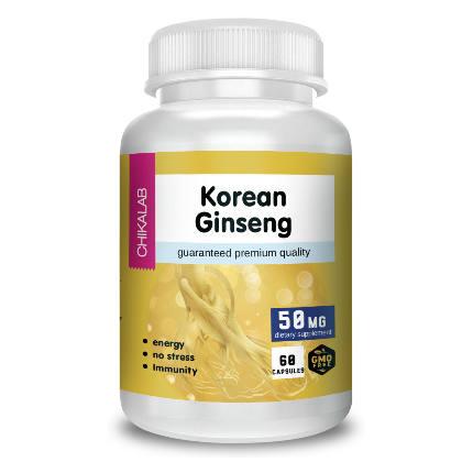 БАД к пище Корейский женьшень 50 мг 60 капсул CHIKALAB